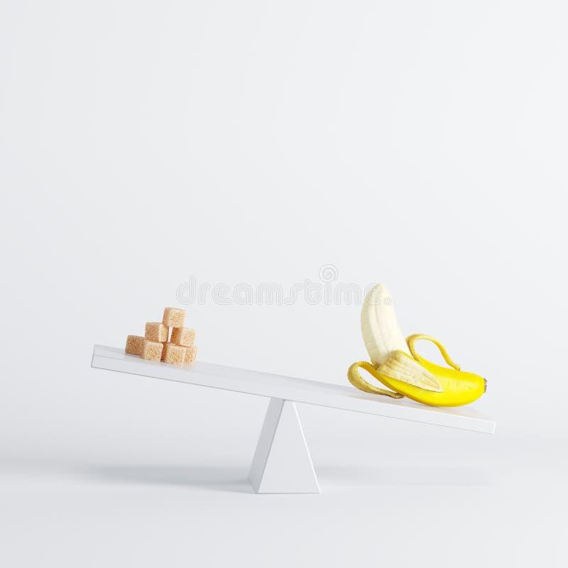 Banaanzitting op geschommel met suikerkubussen op tegenovergesteld eind op witte achtergrond royalty-vrije illustratie