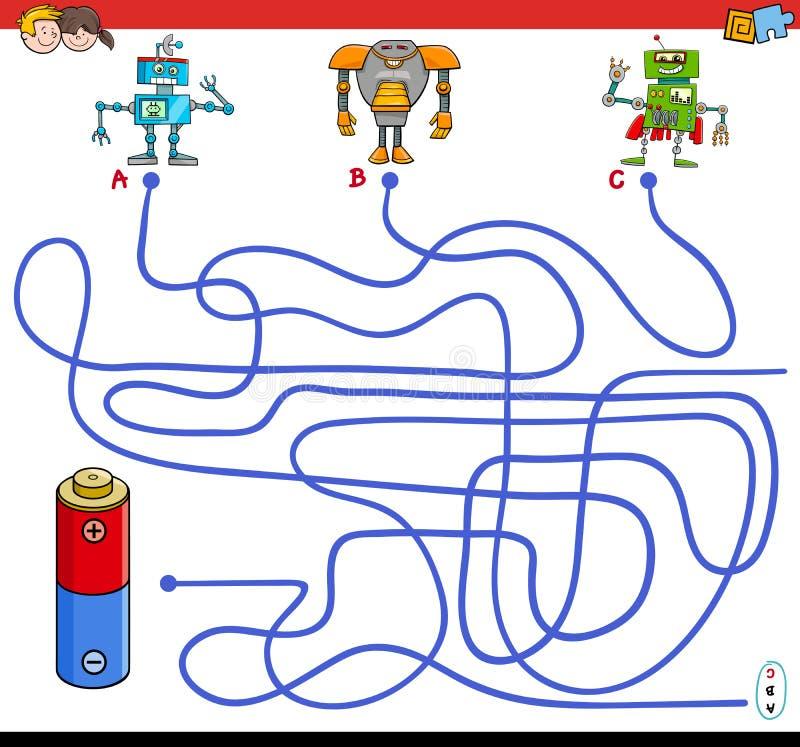 Banalabyrintlek med robotar och batteriet royaltyfri illustrationer