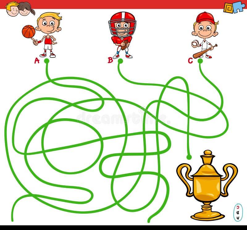 Banalabyrintlek med ungen och sportar royaltyfri illustrationer