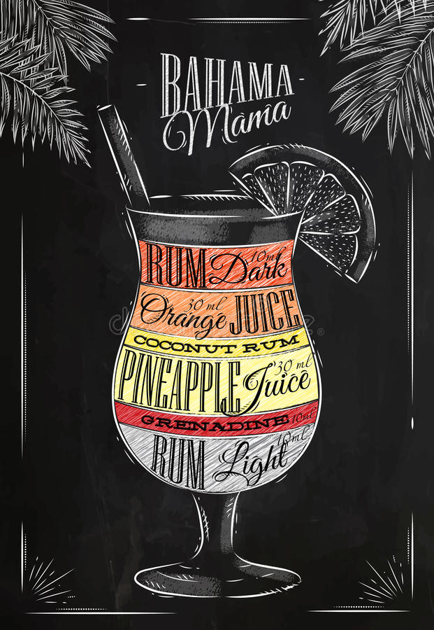 Banama mama cocktail chalk stock illustration