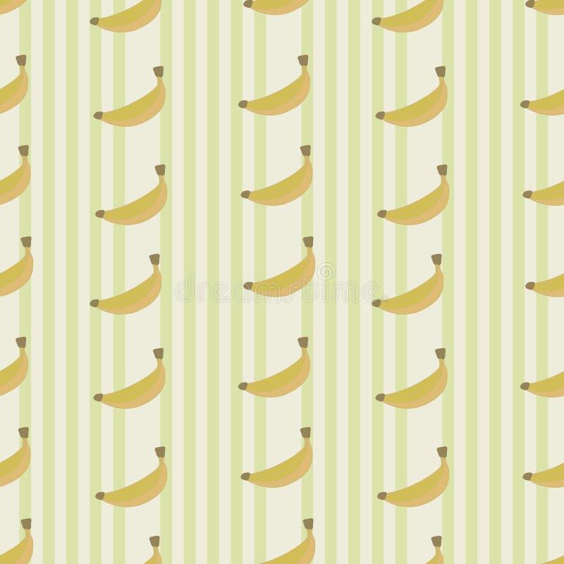 Banan żółte owoc z lekkim beżowym pionowo lampasów wektoru bezszwowym wzorem ilustracji