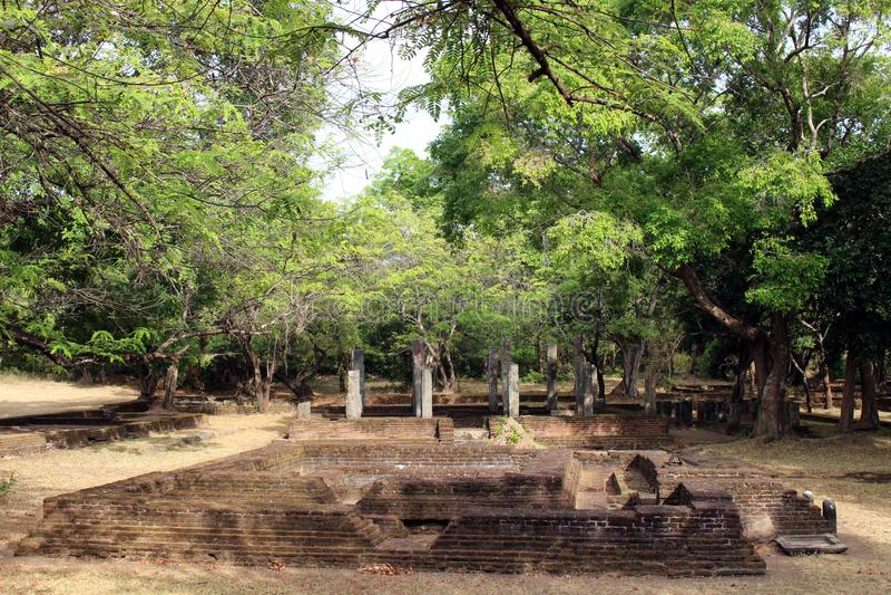 Banan, folk, och fördärvar runt om Polonnaruwa den forntida staden arkivbilder