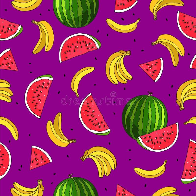 Banan i arbuz Owocowy raj royalty ilustracja