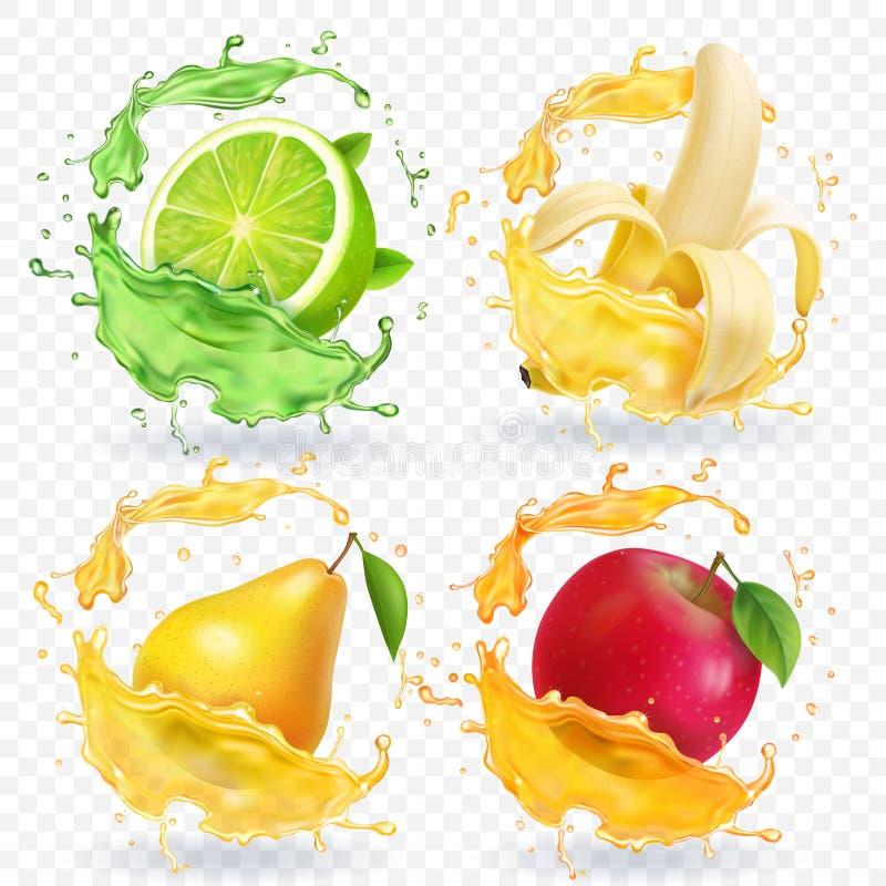 Banan, jabłko, wapno, bonkreta soku Realistyczne owoc bryzga, wektorowy ikona set royalty ilustracja