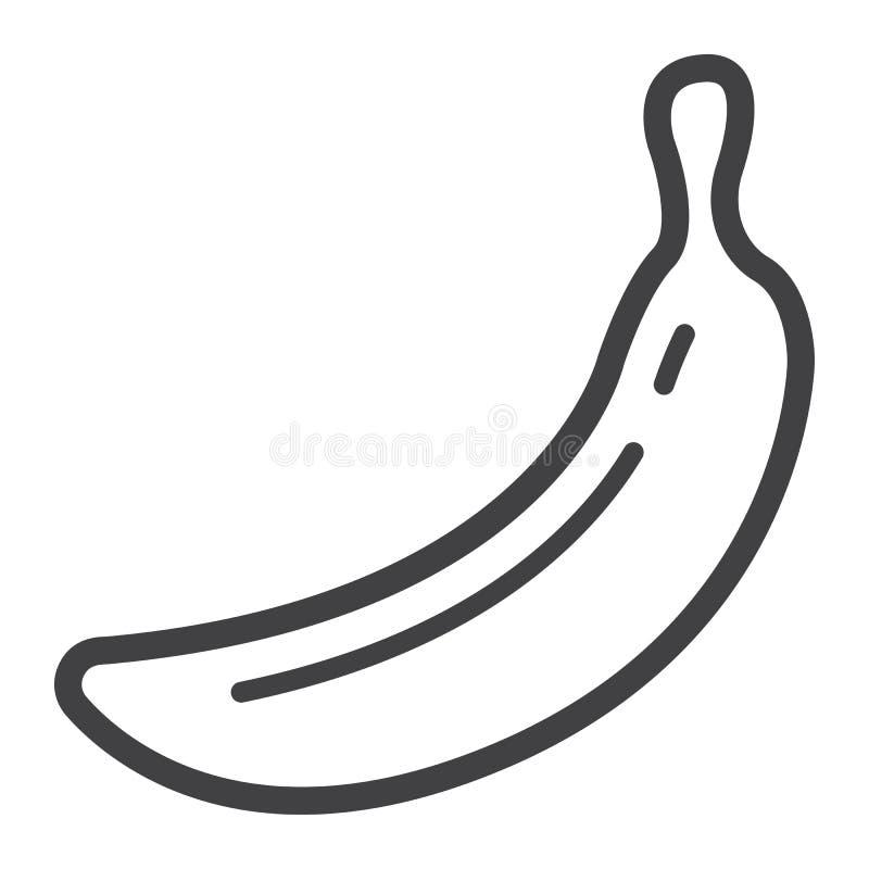 Banan kreskowa ikona, owoc i dieta, wektorowe grafika royalty ilustracja
