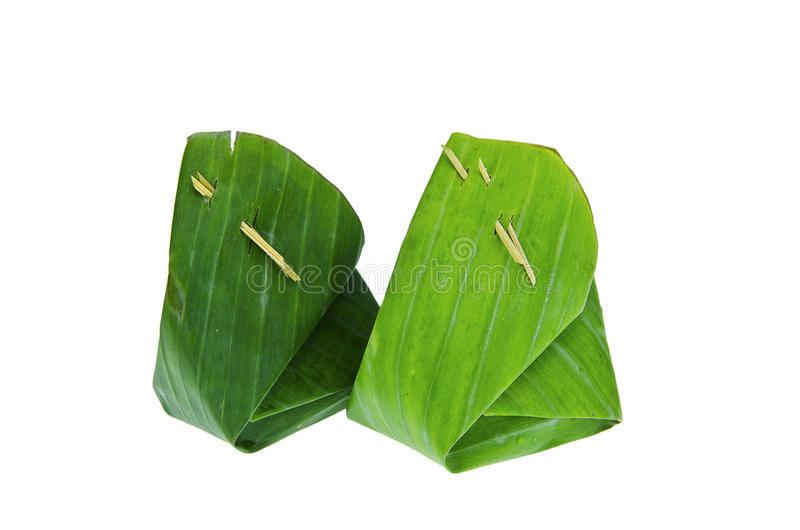 Banan leaf package two. Banan leaf use for packing food stock photography