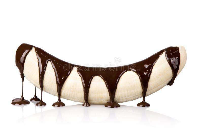 Banan med choklad  royaltyfri fotografi