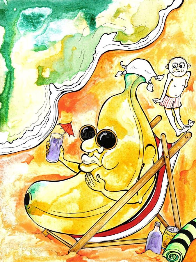 banan na plażę ilustracji