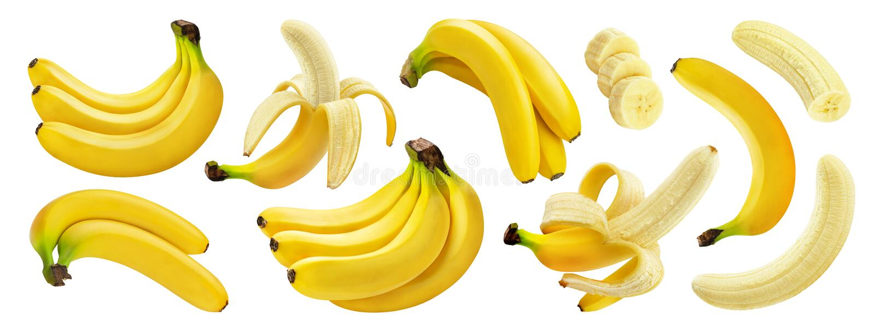 Banan odizolowywający na białym tle z ścinek ścieżką fotografia royalty free