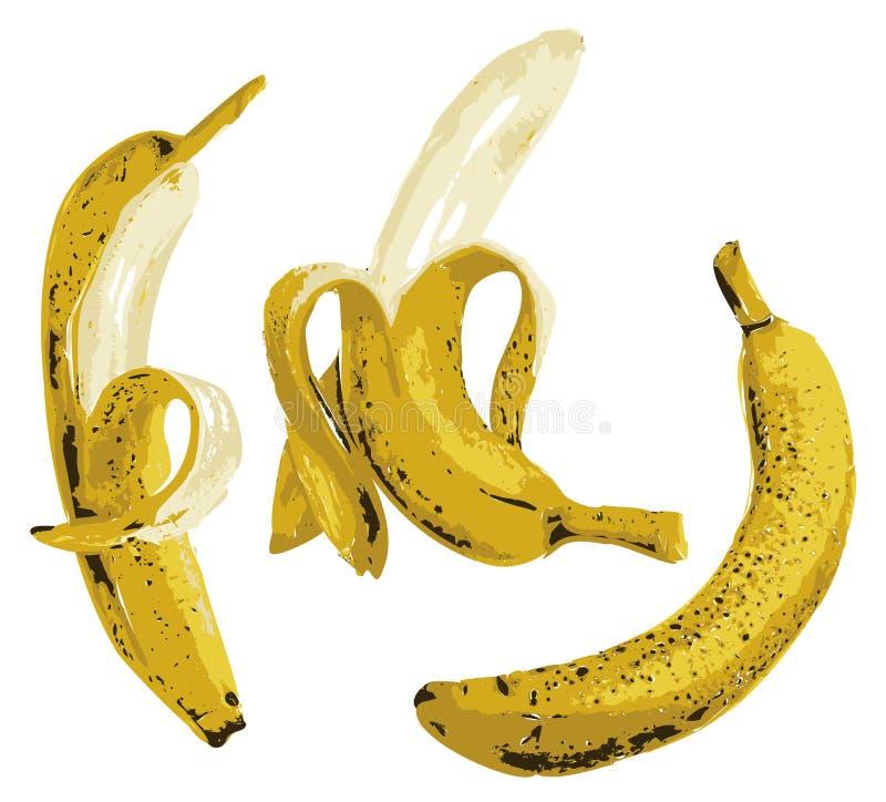 Banan, połówka strugał banana odizolowywającego na bielu ilustracja wektor