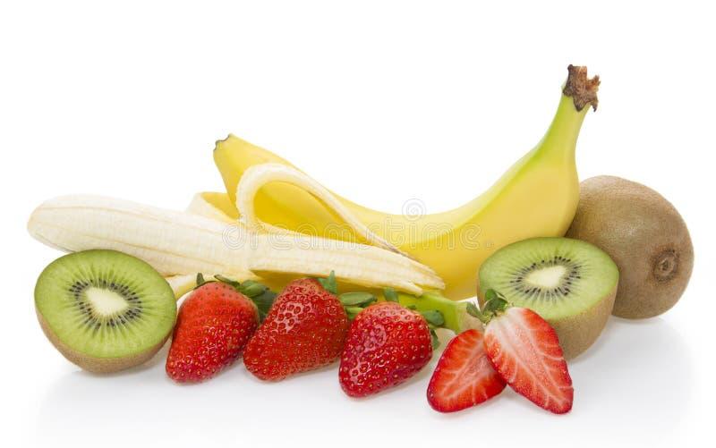 Banan, truskawka, kiwi owoc - owocowy skład zdjęcia stock