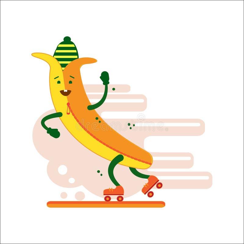 Banan uśmiecha się jazdę na rolkowych łyżwach Bananowa atleta kreskówki dowódcy pistolet żołnierza jego ilustracyjny stopwatch we royalty ilustracja