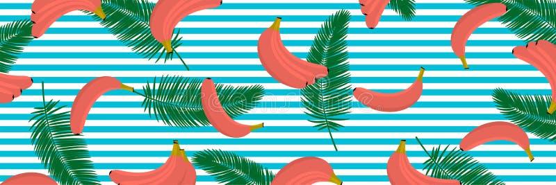 Banan w koralowym kolorze z tropikalnym liaves tłem Bezszwowy wzór z tropikalnymi palma liśćmi, bananami i royalty ilustracja