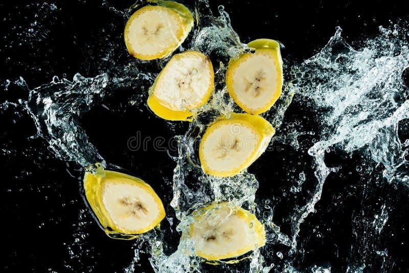 Banan wody pluśnięcie obraz stock