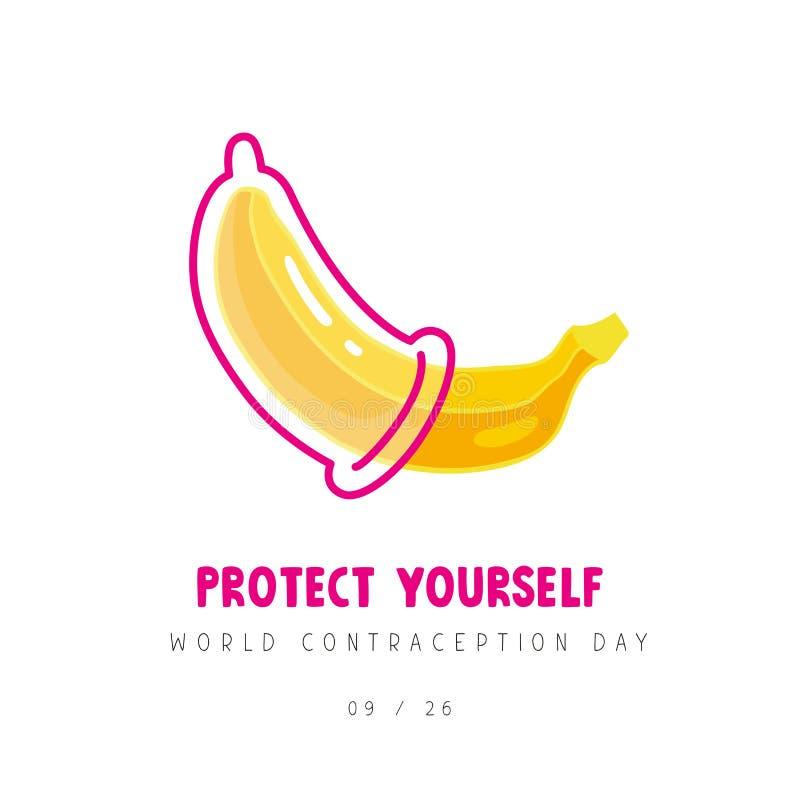 Banan z kondomem Światowy antykoncepcja dzień ilustracji