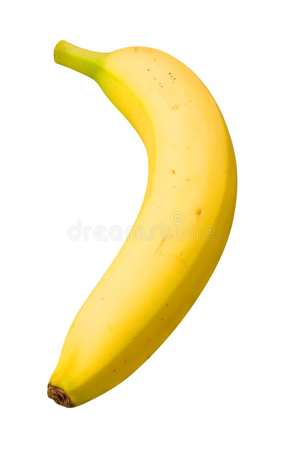 Banana. Isolated on a white background. Isolation is on a transparent layer in the PNG format stock photo