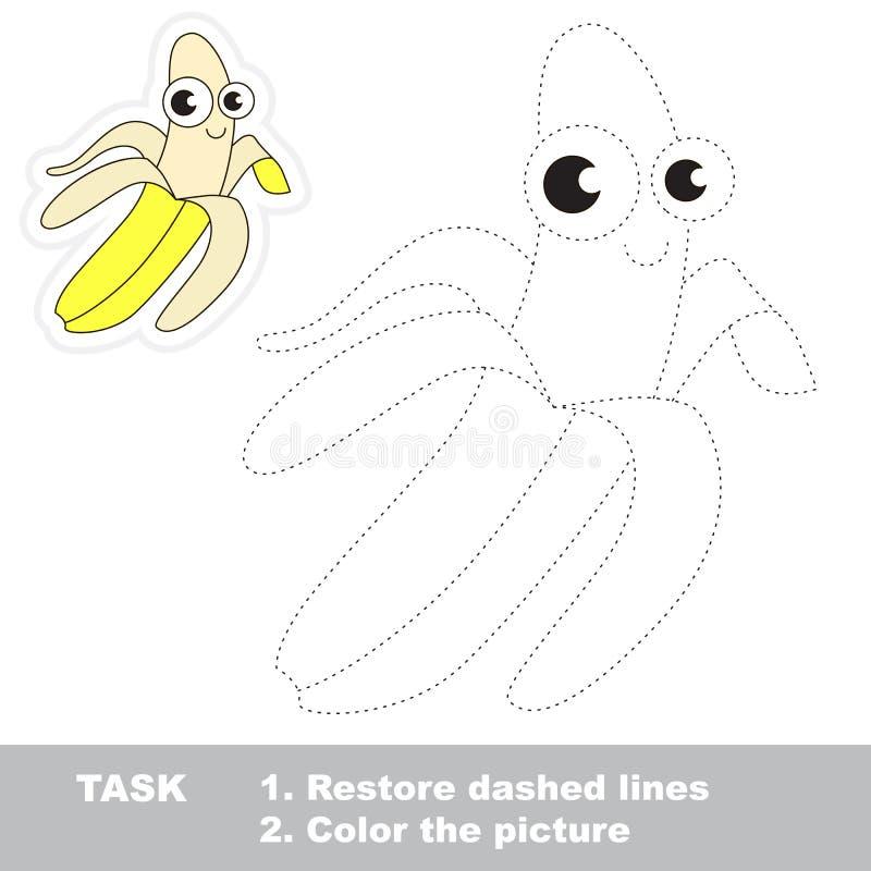 Banana amarela a ser seguida Jogo do traço do vetor ilustração do vetor
