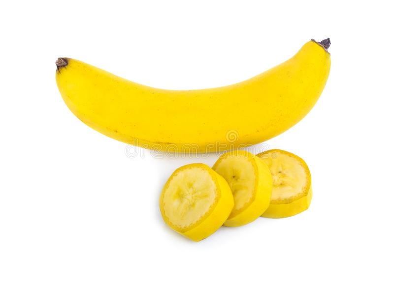 Banana ana slice isolated on white background royalty free stock images