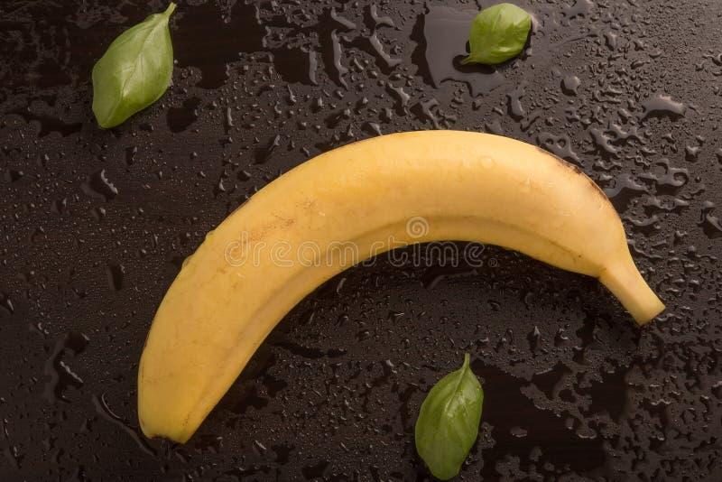 Banana and basil leaves stock photo