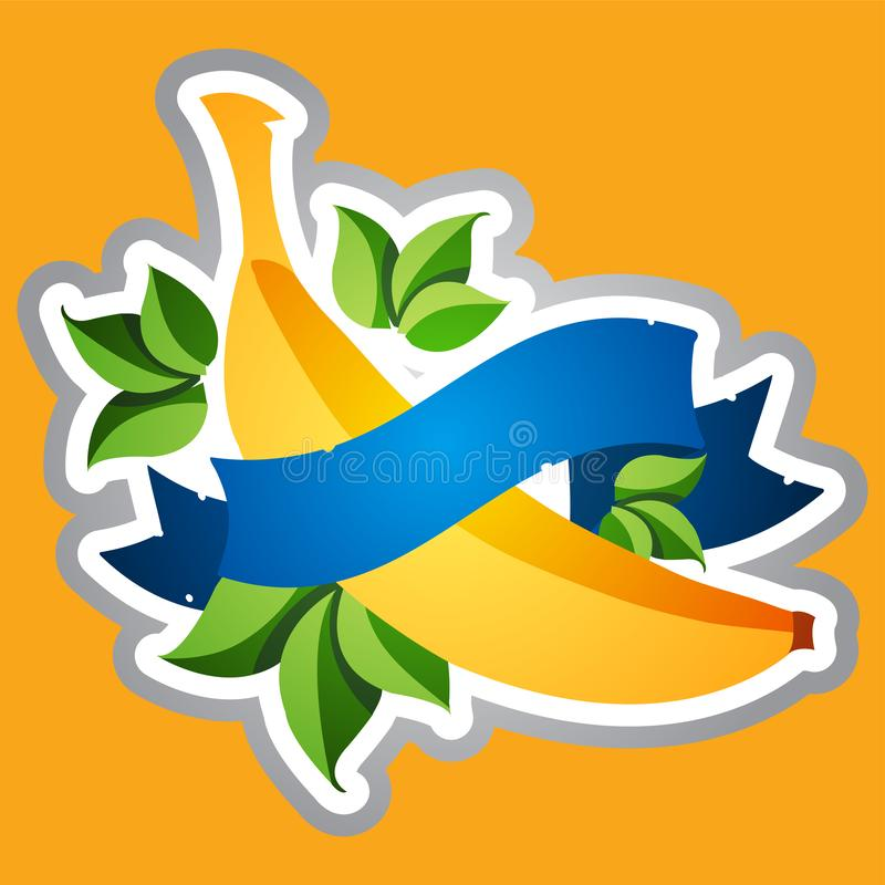 Banana and blue banner tape. Sticker for design food, juices, dietary dishes.  vector illustration