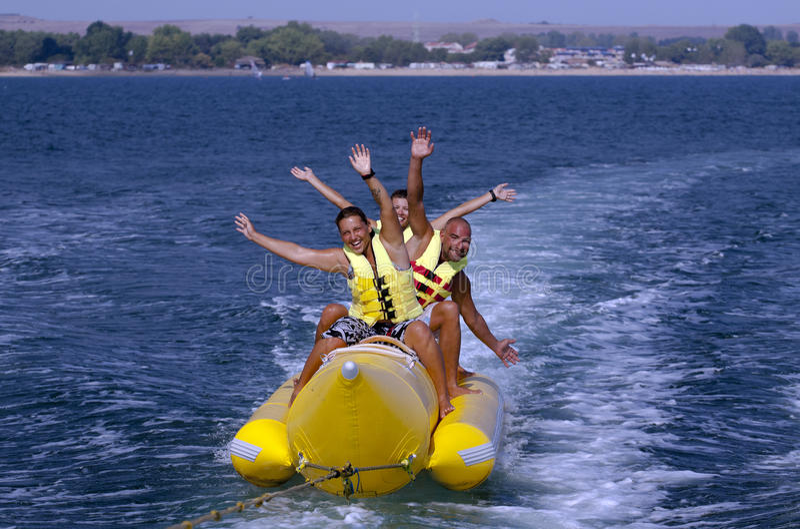 Banana Boat. Emotion of the Water Banana in the Black sea,Bulgaria stock images