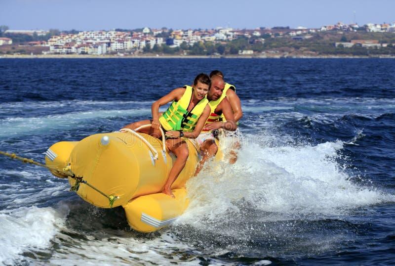 Banana Boat. Emotion of the Water Banana in the Black sea,Bulgaria royalty free stock photo