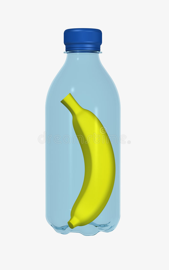 Banana in bottle stock image
