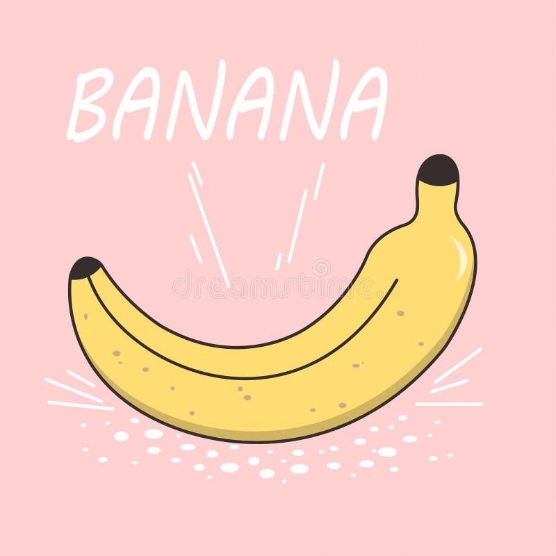 Banana brilhante do desenho do vetor em um fundo cor-de-rosa Estilo dos desenhos animados Ícone liso isolado da banana ilustração stock