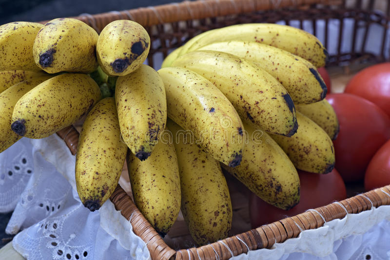 Banana bunch in fruit basket with white frill stock photos