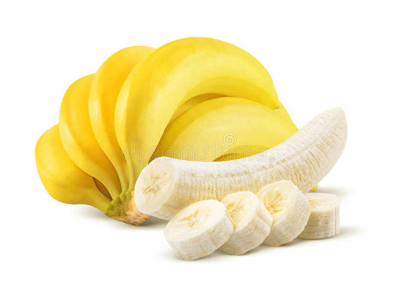 Banana bunch and peeled pieces on white royalty free stock photo