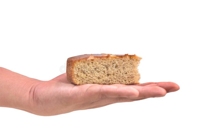 Banana cake on the hand isolate on white background. Food, dessert, isolated, snack, delicious, bakery, sweet, fresh, tasty, gourmet, pastry, breakfast stock photos