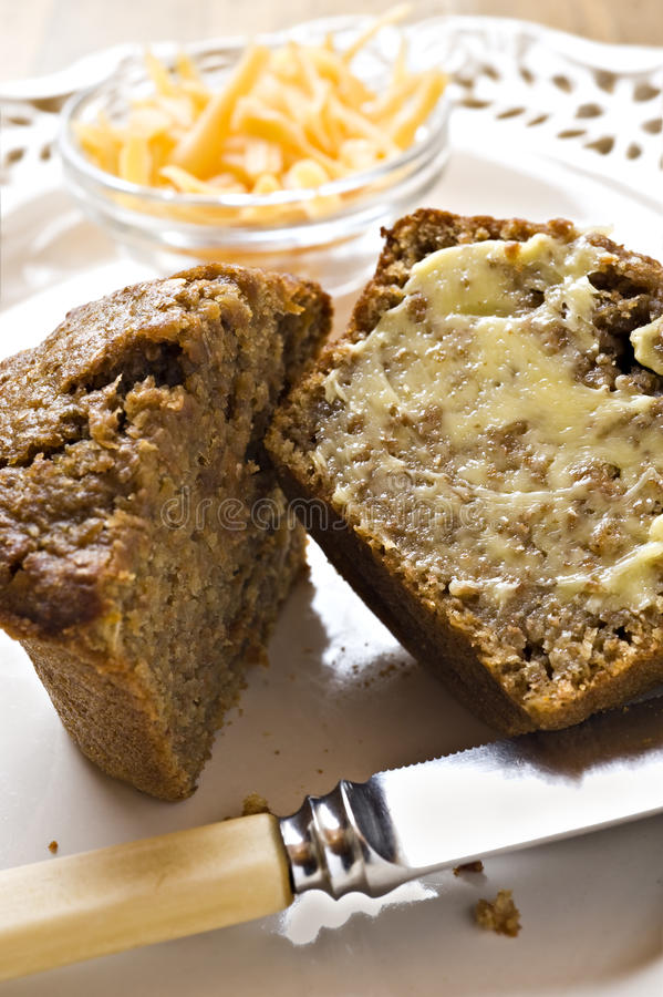 Banana and carrot bran muffins with cheese stock image