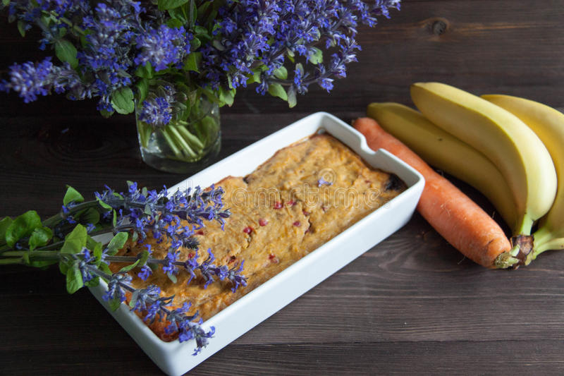 Banana and carrot muffin stock images