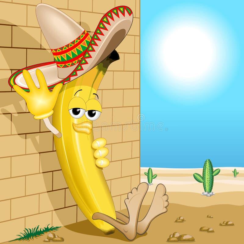 Banana Cartoon Mexico Siesta Cute Character with Sombrero Vector Illustration. Cute and Lazy Banana Cartoon Character with Big Mexican Sombrero, saying hello stock illustration