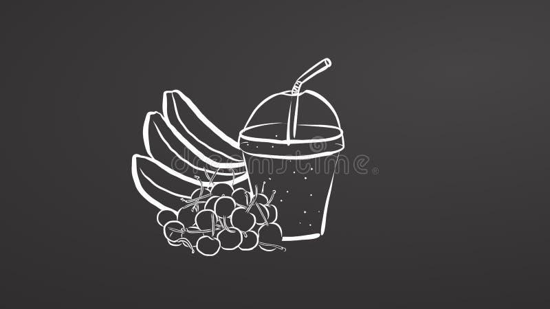 Banana and cherry smoothie on chalkboard stock illustration