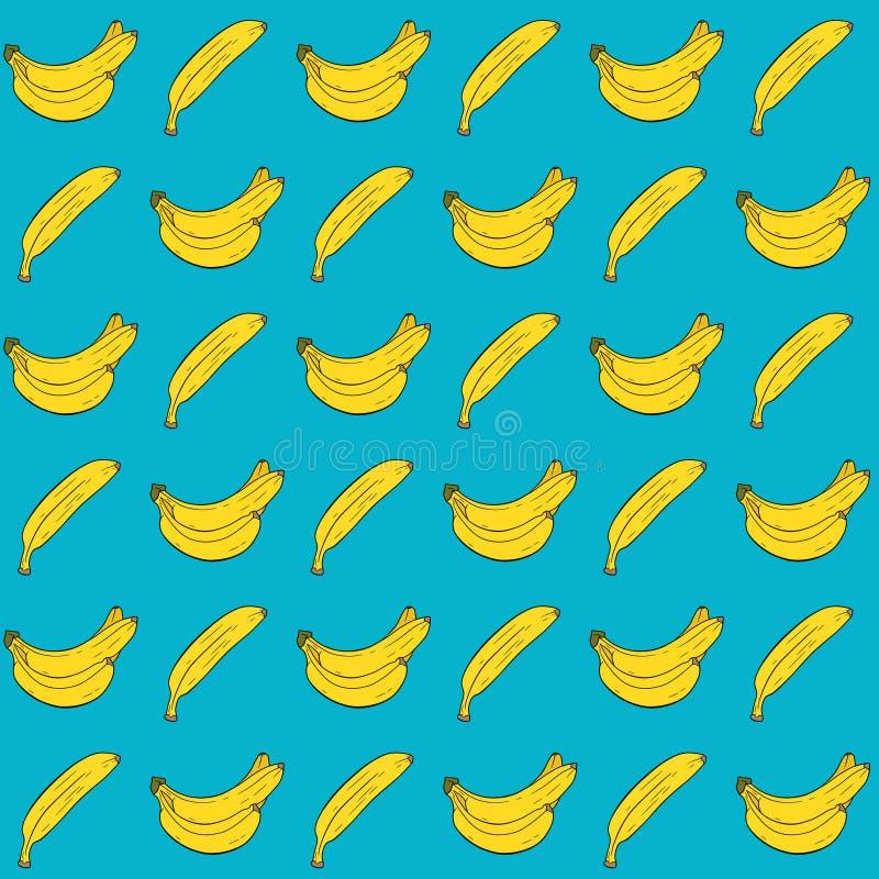 Banana colorida dos desenhos animados Teste padrão sem emenda com as bananas no fundo azul ilustração stock