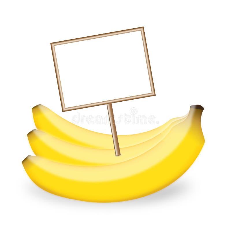 Banana con un'etichetta fotografia stock libera da diritti