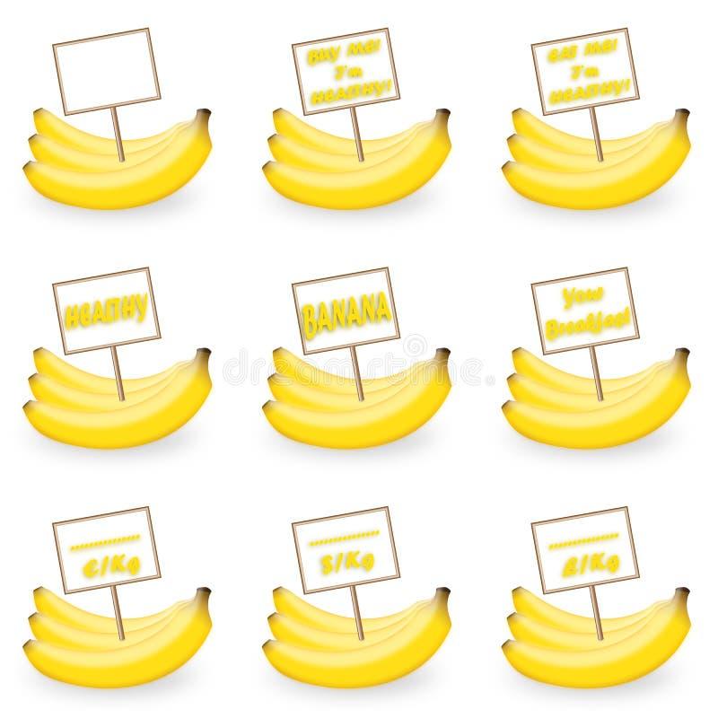 Banana con un'etichetta fotografie stock