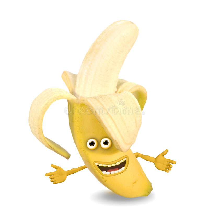 Banana del fumetto. Oggetti sopra bianco. illustrazione di stock
