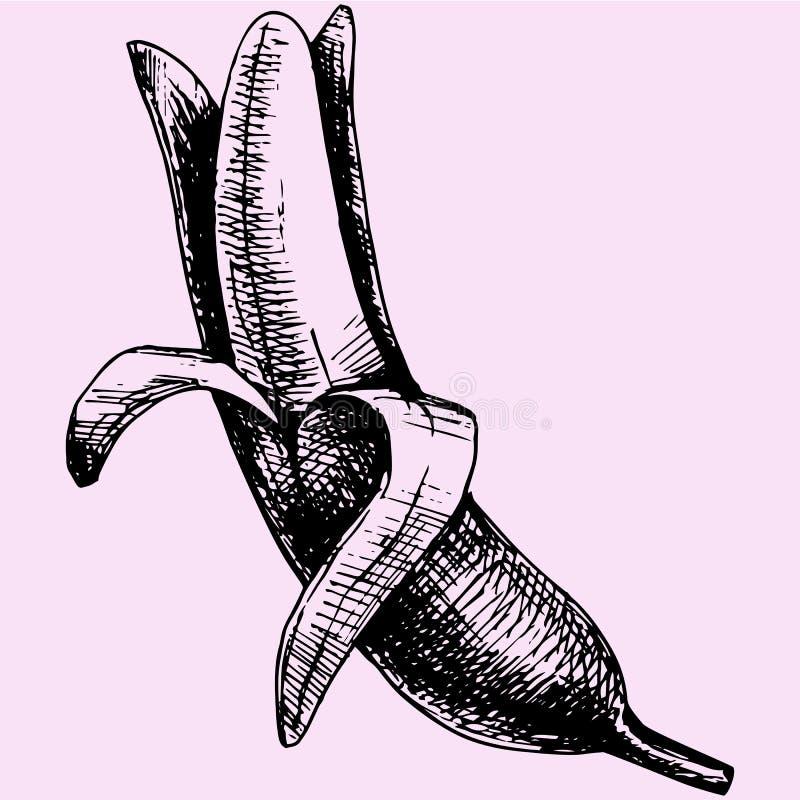 Banana descascada ilustração do vetor