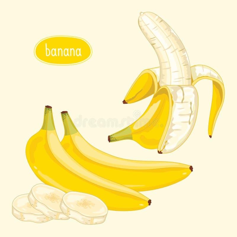 Banana descascada no fundo claro ilustração royalty free