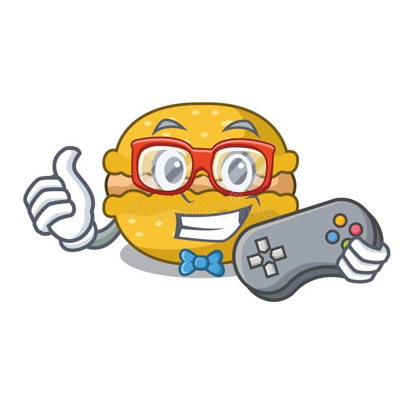 Banana dos macarons do Gamer sobre no caráter engraçado ilustração stock