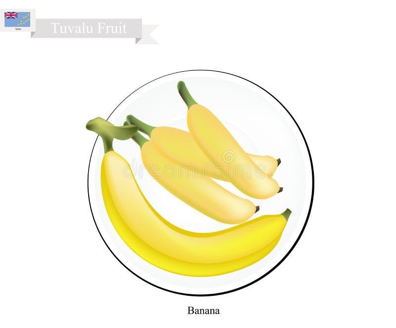 Banana dourada, frutos populares em Tuvalu ilustração royalty free