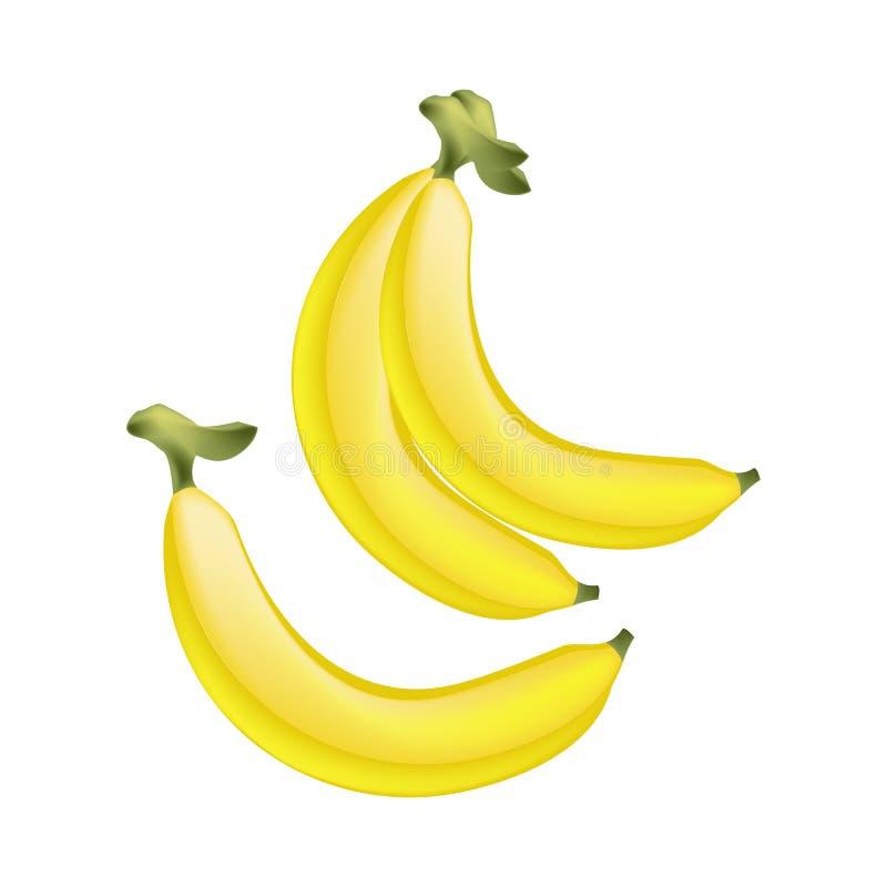 Banana dourada madura fresca no fundo branco ilustração stock