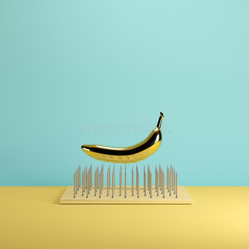 Banana dourada que flutua acima das armadilhas do prego na cor pastel amarela e azul do fundo ilustração stock
