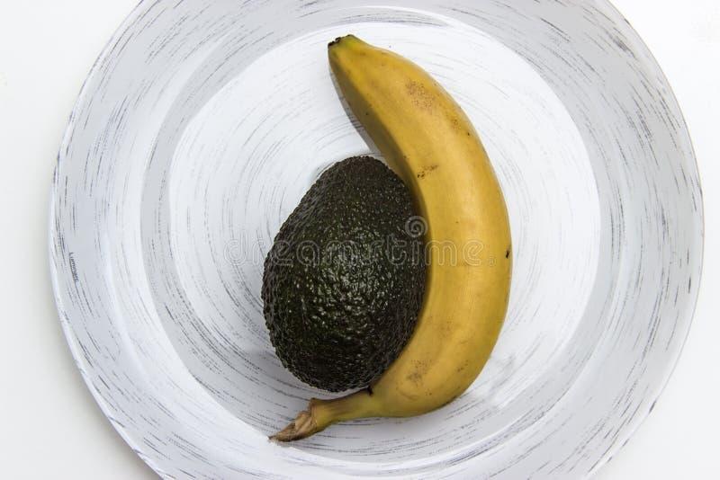 Banana e abacate fotos de stock