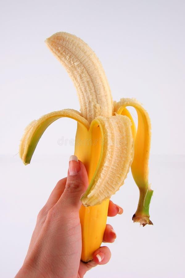 Banana e buccia fotografie stock