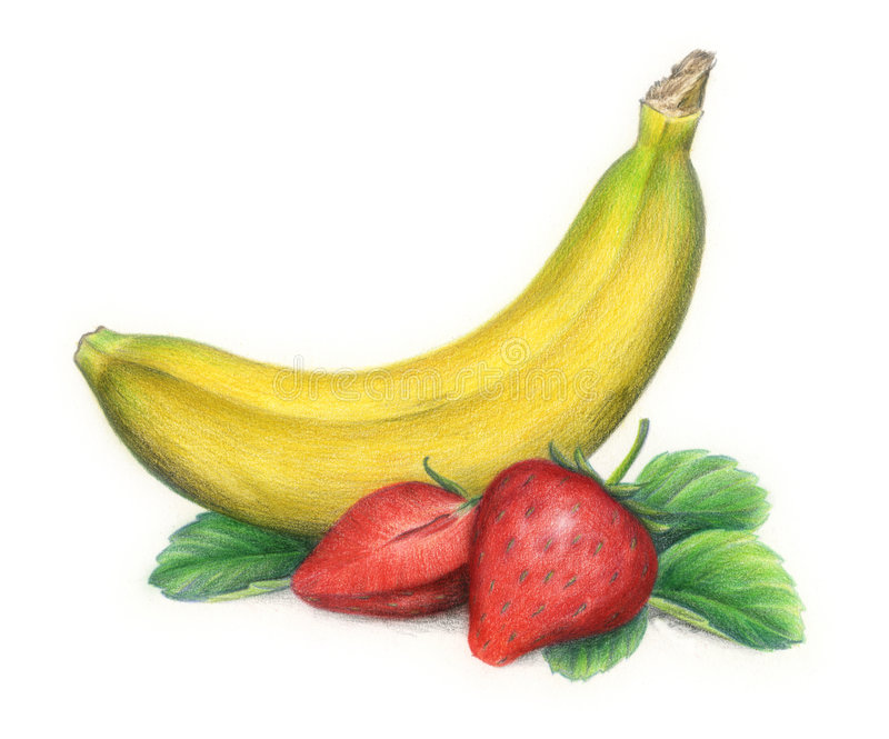 Banana e morangos ilustração stock