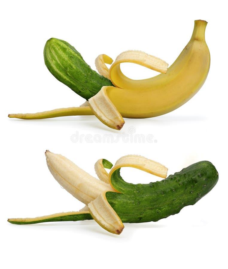 Banana e pepino imagens de stock