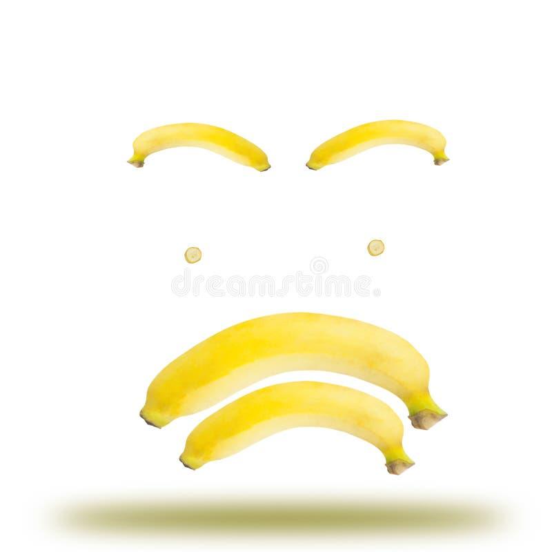 Banana emotional. Symbol muddled on white background stock image